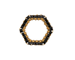 Jet Miyuki Delicas Woven on Gold (plated) Stainless Steel Hexagon 16mm