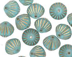 Czech Glass Aquamarine w/ Gold African Bicone 11mm