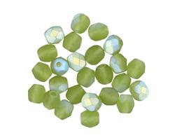 Czech Fire Polished Glass Matte Leaf Green AB Round 5mm