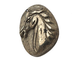 Golden Pyrite (silver tone) Carved Horse Pendant 35x44mm