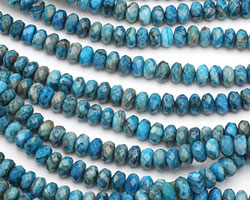 Larimar Blue Crazy Lace Faceted Rondelle 8mm