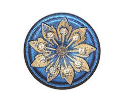 Czech Glass Gilded Sapphire & Crystal Button 38mm