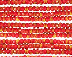 Czech Glass Ketchup & Mustard Fire Polished Rondelle 2x3mm