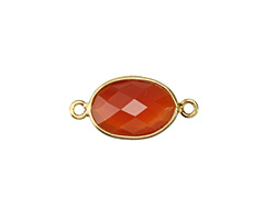 Carnelian (natural-orange) Faceted Oval Link in Gold Vermeil 21-22x10-11mm