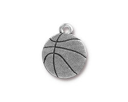 TierraCast Antique Silver (plated) Basketball Charm 16x19mm