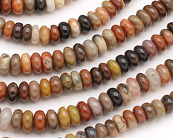 Rainbow Wooden Jasper Rondelle 8mm
