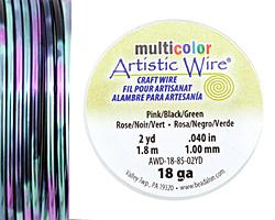 Artistic Wire MultiColor Pink/Black/Green 18 Gauge, 2 Yards