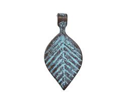 Greek Copper Patina Small Linear Leaf Drop 14x29mm