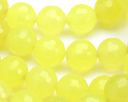 Neon Yellow Colorful Jade Faceted Round 10mm