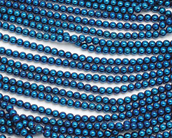 Metallic Blue Hematite (plated) Round 4mm