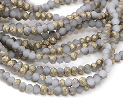 Matte White Opal w/ Metallic Gold Luster Crystal Faceted Rondelle 3mm