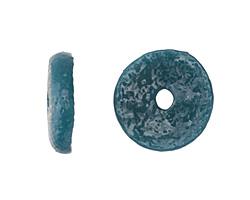 African Sand Cast Powder Glass (Krobo) Peacock Disc Bead 18-19x5mm