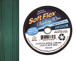 "Soft Flex Green Emerald .019"" (Medium) 49 Strand Wire 30ft."
