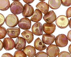 CzechMates Glass Luster Opaque Rose/Gold Topaz 2-Hole Cabochon 7mm