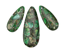 Apple Green Impression Jasper & Bronzite Pendant Set 15x35 & 20x50mm