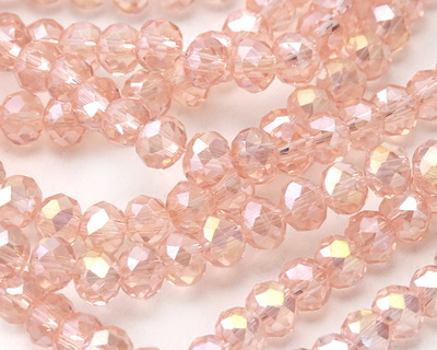 Garden Rose AB Crystal Faceted Rondelle 4mm