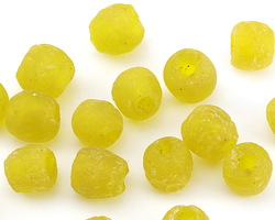 African Recycled Glass Saffron Tumbled Round 7-9mm