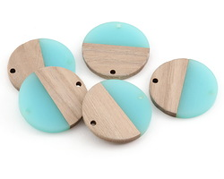 Wood & Sea Green Resin Coin Focal Link 28mm