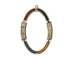 Antique Gold (plated) Beaded Summer Heat Bound Open Oval Pendant 38x57mm