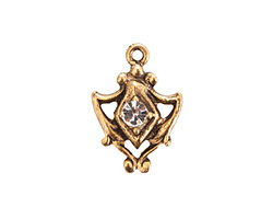 Nunn Design Antique Gold (plated) Medallion Crystal Charm 15x20mm