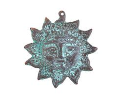 Greek Copper (plated) Patina Sun Face Focal 51x53mm