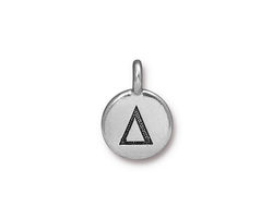 TierraCast Antique Silver (plated) Round Delta Charm 12x17mm