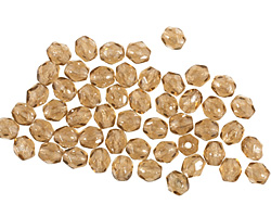 Czech Fire Polished Glass Luster Smoky Topaz Round 3mm