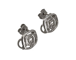 Satin Rhodium (plated) Flat Wired Square Ear Post w/ Loop & Back 11mm