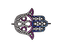 Jewel Tone Mix Pave CZ Gunmetal (plated) Hamsa Focal Link 30x24mm