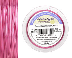 Artistic Wire Silver Plated Rose 28 gauge, 40 yards