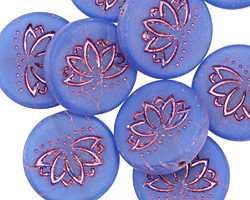 Czech Glass Matte Periwinkle w/ Pink Lotus Coin 18mm