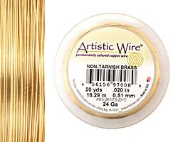 Artistic Wire Non-Tarnish Brass 24 gauge, 20 yards