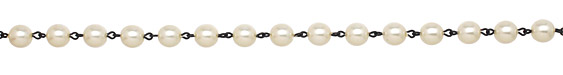 Czech Glass White Pearl on Black (plated) Bead Chain