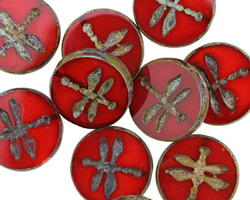 Czech Glass Campfire Picasso Dragonfly Coin 17.5mm