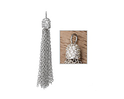 Silver (plated) Crystal Encrusted Simple Chain Tassel 6x58mm