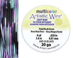 Artistic Wire MultiColor Pink/Black/Green 20 Gauge, 4 Yards
