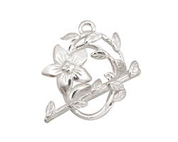 Silver (plated) Flower & Vine Toggle Clasp 27x23mm, 28mm bar