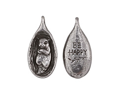 "Green Girl Pewter Otter ""Be Happy"" Pendant 16x35mm"