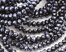 Jet Hematite Crystal Faceted Rondelle 3mm
