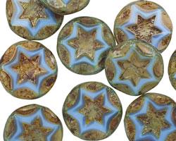 Czech Glass Clay River Starflower Coin w/ Scalloped Edge 15mm