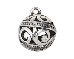 Zola Elements Antique Silver (plated) Openwork Scrolling Vine Round Drop 23-24mm