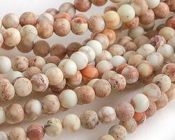 White Impression Jasper (matte) Round 4mm