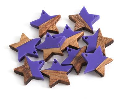 Walnut Wood & Deep Periwinkle Resin Star Focal 18mm