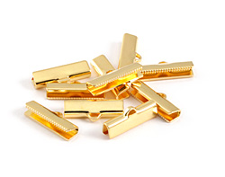 Gold (plated) Smooth Ribbon Crimp End 20mm