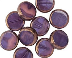 Czech Glass Bronzed Grape Smoothie Coin 13mm
