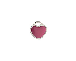 Orchid Enamel Stainless Steel Heart Charm 11x12mm