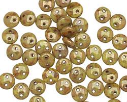 CzechMates Glass Chartreuse Bronze Picasso 2-Hole Lentil 6mm