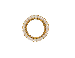 White Miyuki Delicas Woven on Gold (plated) Stainless Steel Ring 15mm
