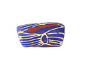 African Hand-Painted Print in Cream/Red on Blue Powder Glass (Krobo) Bead 23-25x12mm