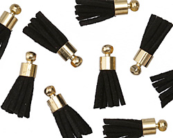 Jet w/ Gold (plated) Bead Cap Faux Suede Tassel 17mm
